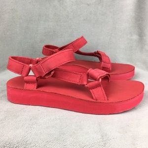 New Teva Leather Midform Universal Red Women's 8
